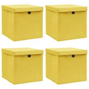 Pood24 hoiukastid kaantega 4 tk, kollane, 32 x 32 x 32 cm, kangas