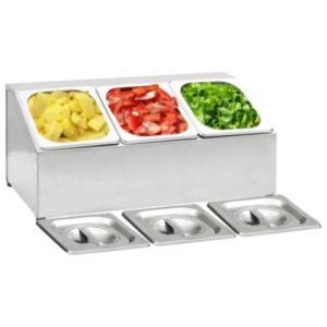 Pood24 toiduplaadi hoidja 3 GN 1/6 panniga, roostevaba teras
