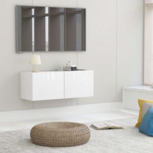 Pood24 telerikapp, kõrgläikega valge, 80 x 30 x 30 cm, puitlaastplaat