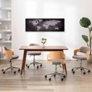 Pood24 seinamaalikomplekt lõuendil, maailmakaart, must, 120 x 40 cm
