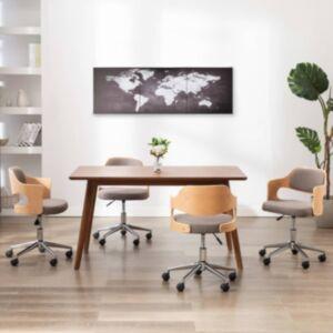 Pood24 seinamaalikomplekt lõuendil, maailmakaart, hall, 120 x 40 cm