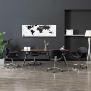 Pood24 seinamaalikomplekt lõuendil, maailmakaart, valge, 120 x 40 cm