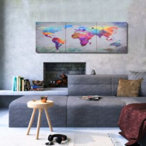 Pood24 seinamaalikomplekt lõuendil, maailmakaart, värviline, 120x40 cm