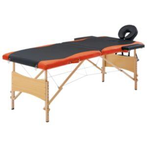 Pood24 kokkupandav massaažilaud 2 tsooniga, puit, must ja oranž