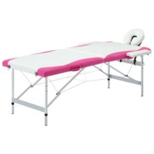 Pood24 2 tsooniga kokkupandav massaažilaud, alumiinium, valge ja roosa