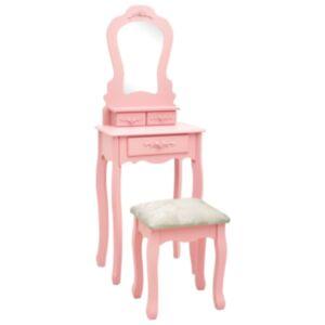 Pood24 tualettlaud taburetiga, roosa, 50 x 59 x 136 cm, Paulownia puit