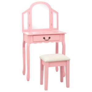 Pood24 tualettlaud taburetiga, roosa 65x36x128 cm, Paulownia puit, MDF