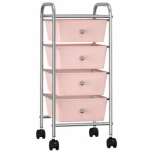 Pood24 4 sahtliga liigutatav hoiukäru, roosa, plast