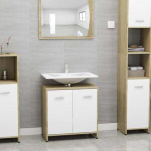 Pood24 vannitoakapp valge ja Sonoma tamm 60x33x58 cm puitlaastplaat