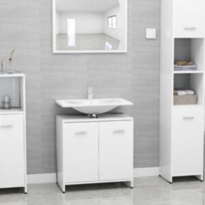Pood24 vannitoakapp kõrgläikega valge 60 x 33 x 58 cm puitlaastplaat