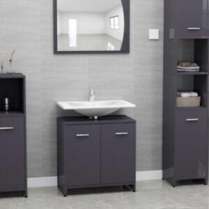 Pood24 vannitoakapp kõrgläikega hall 60 x 33 x 58 cm puitlaastplaat