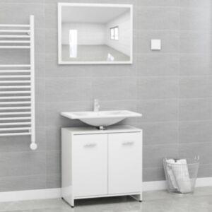 Pood24 vannitoamööbli komplekt, kõrgläikega, valge, puitlaastplaat