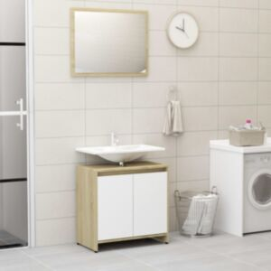 Pood24 vannitoamööbli komplekt, valge ja Sonoma tamm, puitlaastplaat