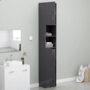 Pood24 pesumasinakapp, kõrgläikega hall 32x25,5x190 cm puitlaastplaat