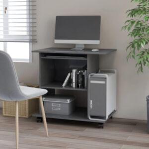 Pood24 arvutilaud, kõrgläikega hall 80 x 50 x 75 cm puitlaastplaat