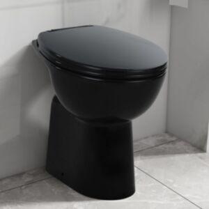 Pood24 kõrge ääreta keraamiline tualettpott, 7 cm kõrgem, must
