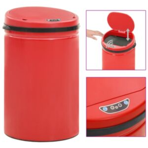 Pood24 automaatanduriga prügikast 30 l süsinikteras, punane