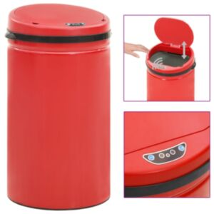 Pood24 automaatanduriga prügikast 50 l süsinikteras, punane