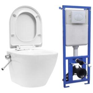 Pood24 seinale kinnituv ääreta peidetud loputuskastiga WC-pott, valge
