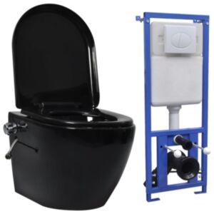 Pood24 seinale kinnituv ääreta peidetud loputuskastiga WC-pott, must