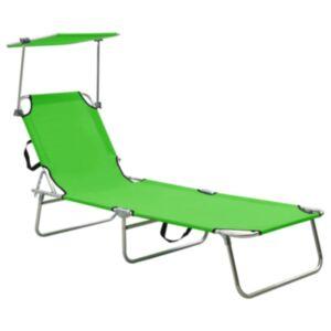 Pood24 kokkupandav lamamistool päikesevarjuga, teras, õunaroheline