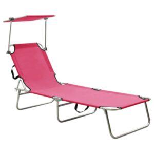 Pood24 kokkupandav lamamistool päikesevarjuga, teras, roosa