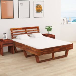 Pood24 kahe öökapiga akaatsiapuidust voodiraam 140 x 200 cm