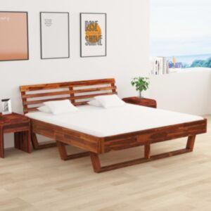 Pood24 kahe öökapiga akaatsiapuidust voodiraam 180 x 200 cm