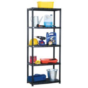Pood24 hoiuriiul 5-korruseline, must, 71 x 38 x 170 cm, plast