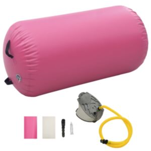 Pood24 täispumbatav võimlemisrull pumbaga 120x75 cm PVC roosa