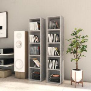 Pood24 CD-kapid, 2 tk, betoonhall, 21 x 16 x 93,5 cm, puitlaastplaat