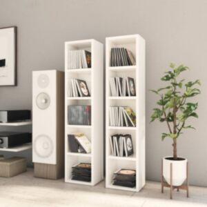 Pood24 CD-kapid 2 tk, kõrgläikega valge 21x16x93,5 cm, puitlaastplaat