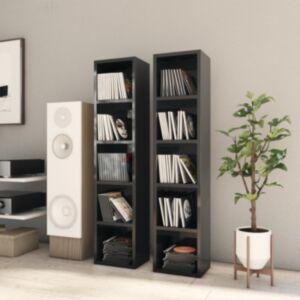 Pood24 CD-kapid 2 tk, kõrgläikega must 21x16x93,5 cm, puitlaastplaat
