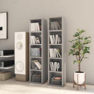 Pood24 CD-kapid 2 tk, kõrgläikega hall 21x16x93,5 cm, puitlaastplaat