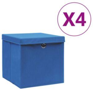 Pood24 hoiukastid kaanega 4 tk, 28 x 28 x 28 cm, sinine