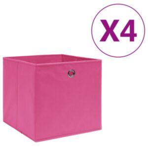 Pood24 mittekootud kangast hoiukastid 4 tk, 28 x 28 x 28 cm, roosa
