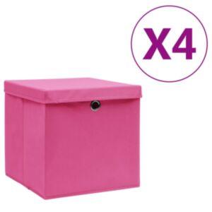 Pood24 hoiukastid kaanega 4 tk, 28 x 28 x 28 cm, roosa