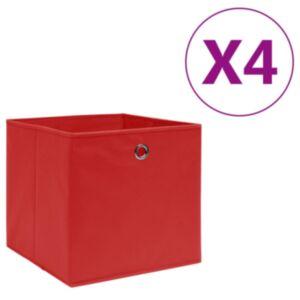 Pood24 mittekootud kangast hoiukastid 4 tk, 28x28x28 cm, punane