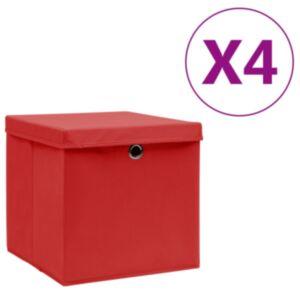 Pood24 hoiukastid kaanega 4 tk, 28 x 28 x 28 cm, punane