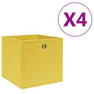 Pood24 mittekootud kangast hoiukastid 4 tk, 28 x 28 x 28 cm, kollane