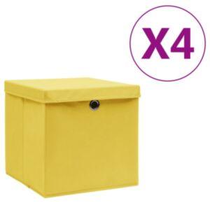 Pood24 hoiukastid kaanega 4 tk, 28 x 28 x 28 cm, kollane