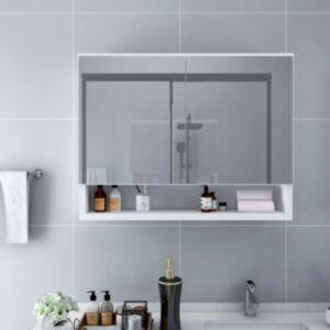 Pood24 LEDidega vannitoa peegelkapp, valge, 80 x 15 x 60 cm, MDF
