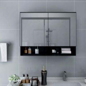 Pood24 LEDidega vannitoa peegelkapp, must, 80 x 15 x 60 cm, MDF