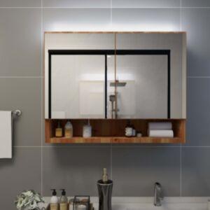 Pood24 LEDidega vannitoa peegelkapp, tamm, 80 x 15 x 60 cm, MDF