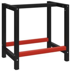 Pood24 tööpingi raam metall 80 x 57 x 79 cm, must ja punane