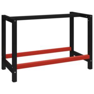 Pood24 tööpingi raam metall 120 x 57 x 79 cm, must ja punane