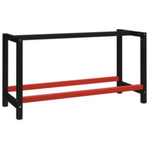 Pood24 tööpingi raam metall 150 x 57 x 79 cm, must ja punane