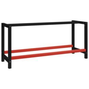 Pood24 tööpingi raam metall 175 x 57 x 79 cm, must ja punane