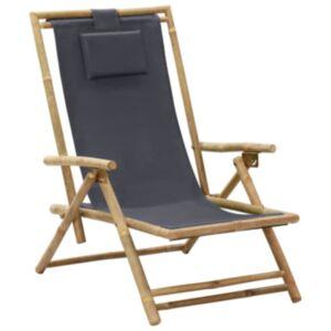Pood24 allalastava seljatoega puhketool, tumehall, bambus ja kangas