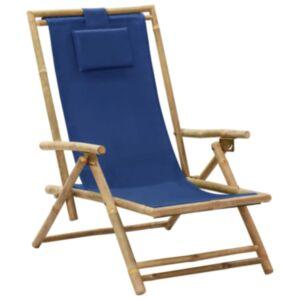 Pood24 allalastava seljatoega puhketool, tumesinine, bambus ja kangas